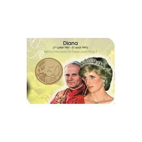 Coincard Jean Paul II et Diana - Les papes au Vatican