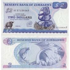 P.1 Zimbabwe - Billet de 2 Dollars