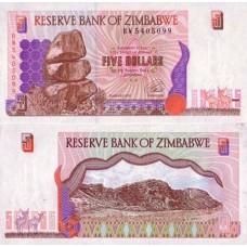 P.5 Zimbabwe - Billet de 5 Dollars