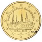 Lettonie 2014 - 2 euro commémorative dorée à l'or fin 24 carats