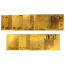 Série Complète 7 Reproductions de billets 5 à 500 euro dorés Or 24 Carats