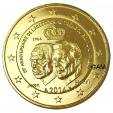 Luxembourg 2014 - 2 euro commémorative Grand Duc Jean dorée à l'or fin 24 carats