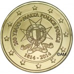 Malte 2014 - 2 euro commémorative 200ème anniversaire des forces de police maltaise dorée à l'or fin 24 carats