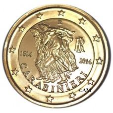 "Italie 2014 - 2 euro commémorative ""Carabinieri"" dorée à l'or fin 24 carats."