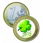 Trèfle 4 feuilles 2015 - 1 euro domé en couleur