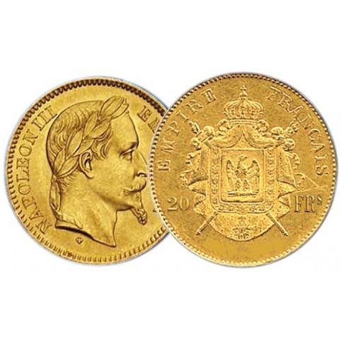 20 Francs Or Napoléon III tête laurée - Miniaturisation