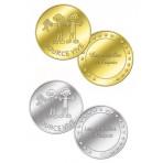 Lot de deux médailles associatives Source Vive - couleur argent et couleur or