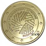 Lettonie 2015 - 2 euro commémorative Présidence de l'Union Européenne dorée à l'or fin 24 carats