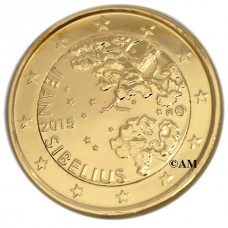 Finlande 2015 - 2 euro commémorative Jean Sibelius dorée à l'or fin 24 carats