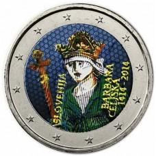 Slovénie 2014 - 2 euro commémorative en couleur Barbara Celjska