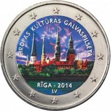 Lettonie 2014 - 2 euro commémorative en couleur Riga