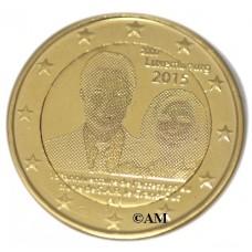 Luxembourg 2015 - 2 euro commémorative 15ème Anniversaire de l'accession au trône du Grand Duc Henri dorée à l'or fin 24 carats