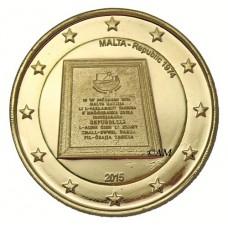 Malte 2015 - 2 euro commémorative République dorée à l'or fin 24 carats