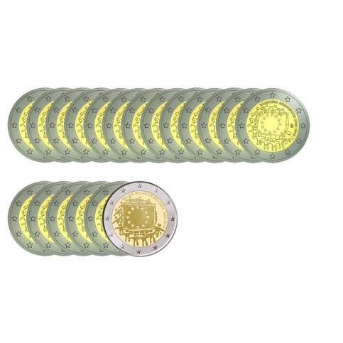 série complète 19 pièces - 2 euro commémoratives 30 ans du drapeau