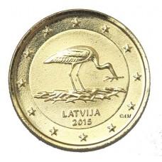 Lettonie 2015 - 2 euro commémorative dorée or 24 carats Cigogne noire