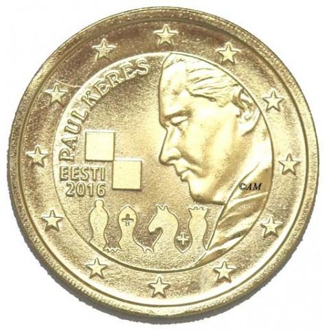 Estonie 2016 - 2 euro commémorative dorée à l'or fin 24 carats  Paul KERES