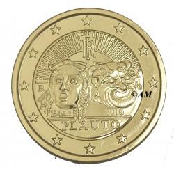 Italie 2016 - 2 euro commémorative dorée à l'or fin 24 carats  plaute