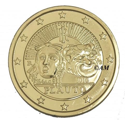 italie-2016-2-euro-commemorative-doree-a-l-or-fin-24-carats-plaute