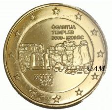 Malte 2016 - 2 euro commémorative dorée à l'or fin 24 carats Temple