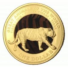 Monnaie Dollar Tigre du Bengale dorée or fin 24 carats