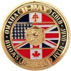 Médaille commémorative D-Day dorée or fin 24 carats