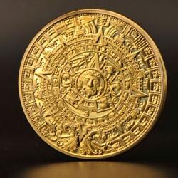 Pierre du soleil aztèque dorée or fin 24 carats