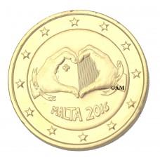 Malte 2016 - 2 euro commémorative Amour dorée or fin 24 carats