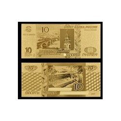 Reproduction billet Russie 10 roubles - Doré or fin 24 carats