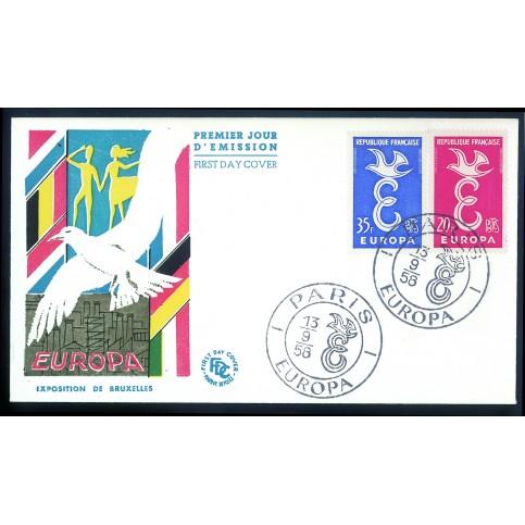Enveloppe 1er jour Europa 1958