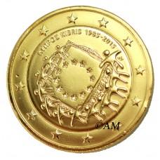 chypre 2015 - 2 euro commémorative 30 ans dorée à l'or fin 24 carats