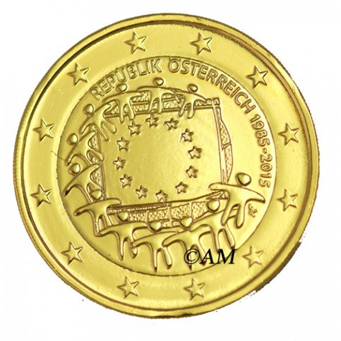 Autriche 2015 - 2 euro commémorative 30 ans dorée à l'or fin 24 carats
