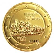 Malte 2017 - 2 euro commémorative Temple dorée à l'or fin 24 carats