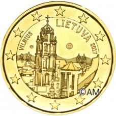 Lituanie 2017 - 2 euro commémorative Vilnius dorée à l'or fin 24 carats
