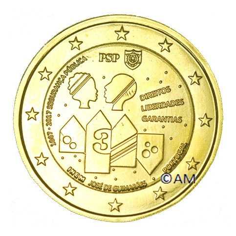 Portugal 2017 - 2 euro commémorative Police dorée à l'or fin 24 carats