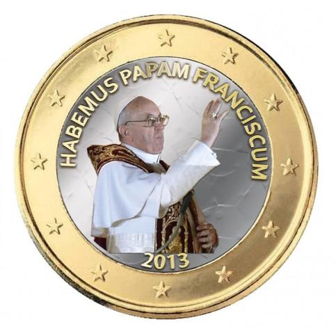 Pape Francois 2013 'Bénédiction' - 1 euro domé en couleur