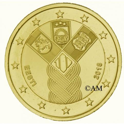 Estonie 2018 - 2 euro commémorative Etats Baltes dorée à l'or fin 24 carats