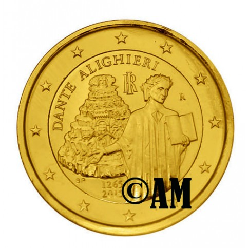 Italie 2015 - 2 euro commémorative DANTE dorée or fin 24 carats