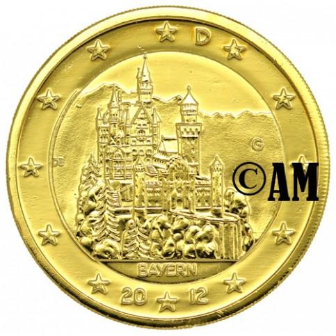 Allemagne 2012 - 2 euro commémorative dorée à l'or fin 24 carats
