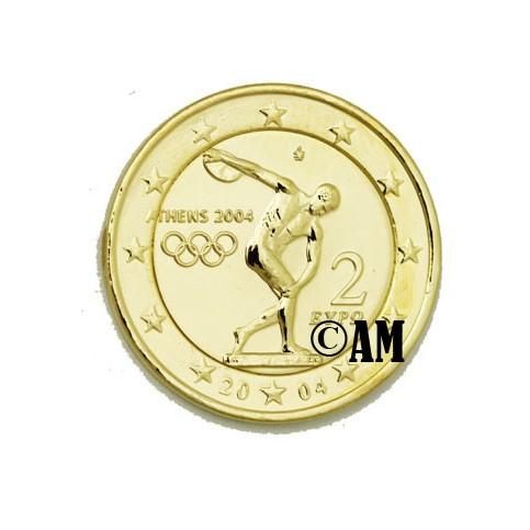 Grèce 2004 - 2 euro commémorative dorée à l'or fin 24 carats