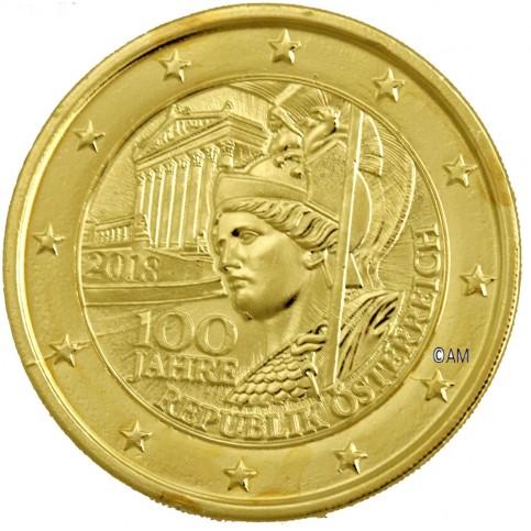 Autriche 2018 - 2 euro commémorative 100 ans république dorée à l'or fin 24 carats