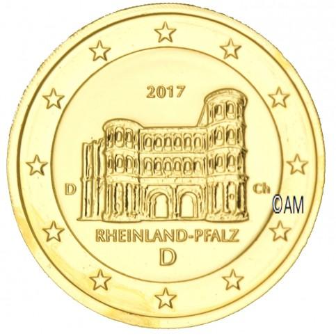 Allemagne 2017 - 2 euro commémorative Porta Nigra dorée à l'or fin 24 carats