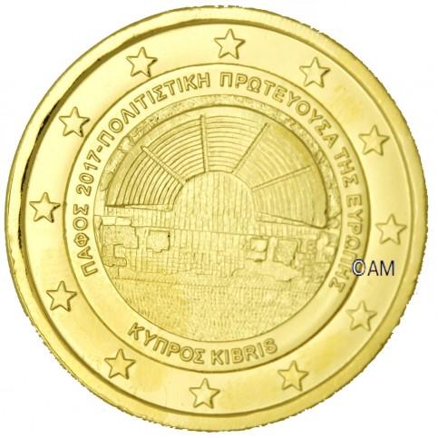 Chypre 2017 - 2 euro commémorative Paphos dorée à l'or fin 24 carats