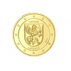 Lettonie 2017 - 2 euro commémorative Latgale dorée à l'or fin 24 carats