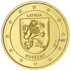 Lettonie 2017 - 2 euro commémorative Kurzeme dorée à l'or fin 24 carats