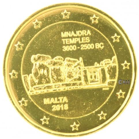 Malte 2018 - 2 euro commémorative Mnajdra dorée à l'or fin 24 carats