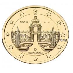 Allemagne 2016 - 2 euro Sachsen dorée or fin 24 carats