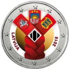 Lettonie 2018 Etats Baltes - 2 euro commémorative en couleur