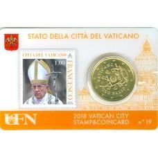Vatican 2018 : Coincard 50 cts Pape François + timbre