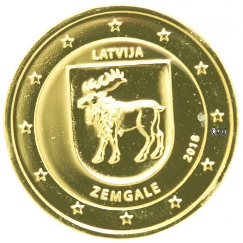 Lettonie 2018 - 2 euro commémorative Zemgale dorée à l'or fin 24 carats
