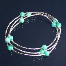 Amazonite- Bracelet 3 rangs en argent